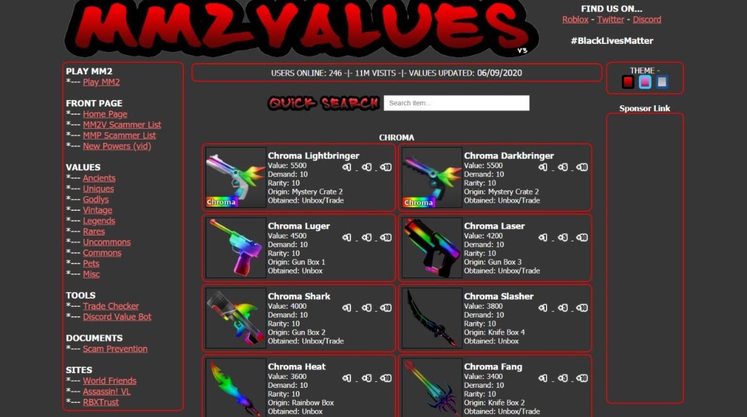 Murder Mystery 2 Values